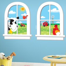 Down on the Farm Peel and Stick Window Wall Decal