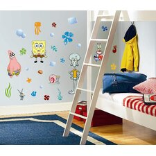 30-Piece Nickelodeon SpongeBob SquarePants Peel and Stick Wall Sticker
