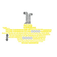 Peel & Stick Giant Yellow Submarine Lyrics Wall Decal