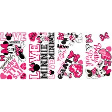 28 Piece Peel & Stick Mickey and Friends Minnie Loves Pink Wall Decal Set