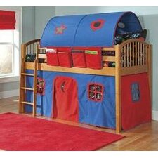 Mansfield Junior Twin Low Loft Bed with Built-In Ladder and Tent