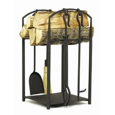 Mission Wrought Iron Log Holder with Tools