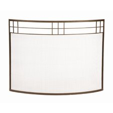 Arts and Crafts Curved Wrought Iron Fireplace Screen