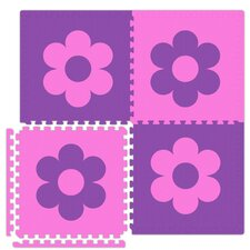 Economy SoftFloors Flower Set in Pink / Purple