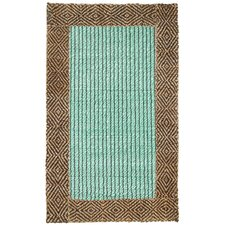 Cabana Braided Border Turquoise Rug
