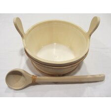 Wooden Bucket and Ladle Set with Liner