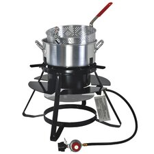 Outdoor Gas Cooker with 10 Quart Pan and Basket Set