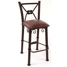 Western Iron Barstool with Back in Antique Red