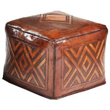 <strong>New World Trading</strong> Diamond Saddle Large Leather Ottoman