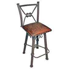 "Western Iron 38"" Bar Stool with Cushion"