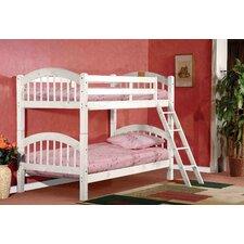 Twin Over Twin Arched Bunk Bed with Ladder and Safety Rail