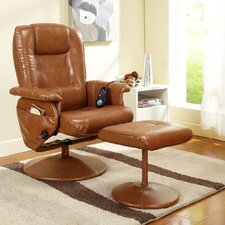 <strong>InRoom Designs</strong> Reclining Massage Chair with Ottoman