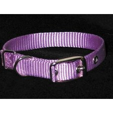 Single Thick Nylon Dog Collar in Lavender