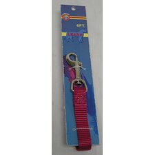 Raspberry Nylon Lead with Snap Carded