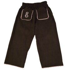 Bon Bon Corduroy Pant with Rick Rack Pocket in Brown with Light Pink Trim
