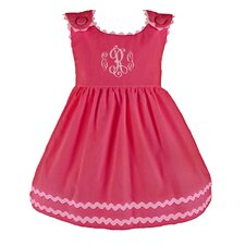 <strong>Princess Linens</strong> Bon Bon Corduroy Dress in Hot Pink with Light Pink Trim