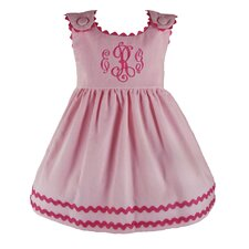 Bon Bon Corduroy Dress in Pink with Hot Pink Trim