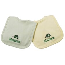 Cotton Knit Bib Set with Turtle Motif in Sage and Yellow (Set of 2)