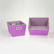 2 Piece Gingham Tapered Bins Set