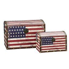 2 Piece American Flag Design Trunk with Dome Lid (Jumbo & Medium)