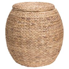 Large Round Water Hyacinth Wicker Storage Basket with Lid