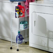 <strong>Household Essentials</strong> Slimline Three Shelf Utility Cart in White