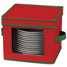 Storage and Organization Holiday Salad Plate/Bowl Chest with Green Trim in Red