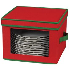 <strong>Household Essentials</strong> Storage and Organization Holiday Dinner Plate Chest with Green Trim in Red