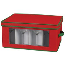Storage and Organization Holiday Stemware Chest/Goblet in Red