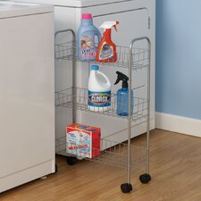 <strong>Household Essentials</strong> Slimline Three Shelf Utility Cart in Satin Silver