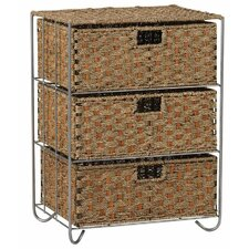 <strong>Household Essentials</strong> Seagrass Rattan 3 Drawer Unit