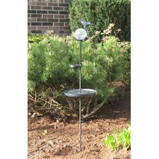 Aquarius Birdbath Solar Stake with Glass Orb