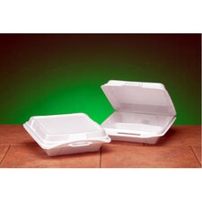 Foam Hinged Carryout Container with 3 Compartment in White