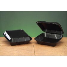 Foam Hinged Carryout Container with 1 Compartment in Black
