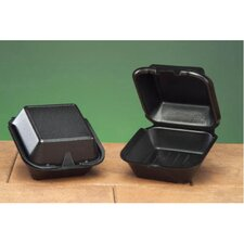 Foam Hinged Carryout Container in Black