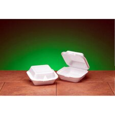 Snap It Foam Hinged Sandwich Jumbo Container in White