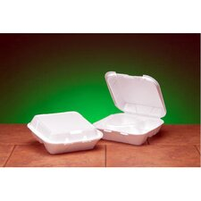 Snap-It Foam Hinged Carryout Container with 3 Compartment in White