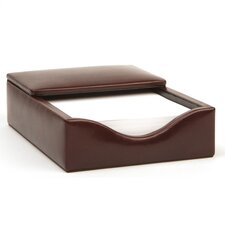 Old Leather Flip Top Memo Box in Dark Brown