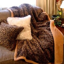 Leopard Faux Fur Acrylic Throw Blanket and Pillow Set