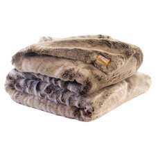 Chinchilla Faux Fur Acrylic Throw Blanket with Double Sided Frosted-Clove Faux Fur