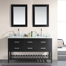 "<strong>Design Element</strong> London 61"" Double Sink Vanity Set"