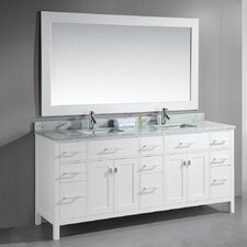"London 78"" Double Modern Bathroom Vanity Set with Mirror"