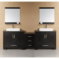 "<strong>Design Element</strong> Washington 96"" Modern Bathroom Vanity Set"