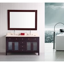 "<strong>Design Element</strong> Venetian 61"" Double Sink Bathroom Vanity Set"