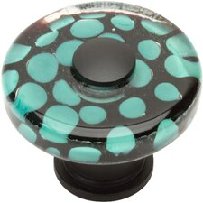 "Glass 1.5"" Emarld Polka Dot Square Knob"