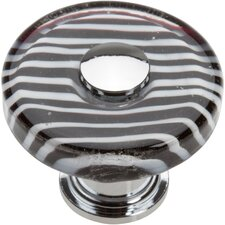 "Glass Zebra 1.5"" Round Knob"