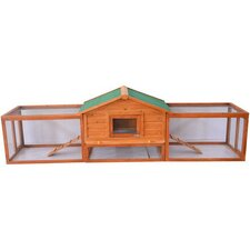 "Pawhut 122"" Deluxe Wooden Rabbit Hutch/Chicken Coop with Double Outdoor Runs"