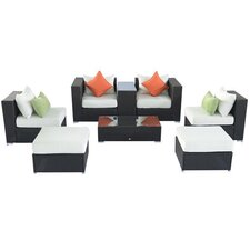 Outsunny 8 Piece Wicker Rattan Patio Sectional Deep Seating Group Chair Set with Cushion