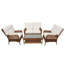 Outsunny 4 Piece Deep Seating Group with Cushion