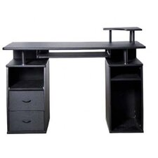 HomCom Computer Desk with Elevated Shelf